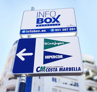 Mupis y postes para señalizar Marbella