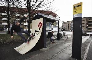 Marquesina con rampa para skate
