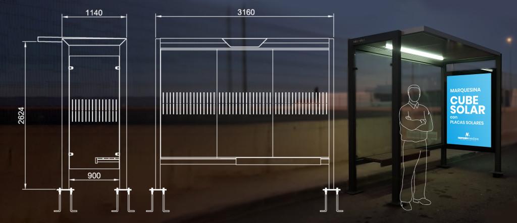 Nemain marquesina de autobús sostenible con placas solares cube solar
