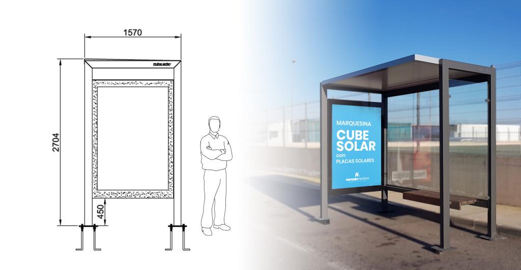Nemain marquesina autobús placas solares cube solar